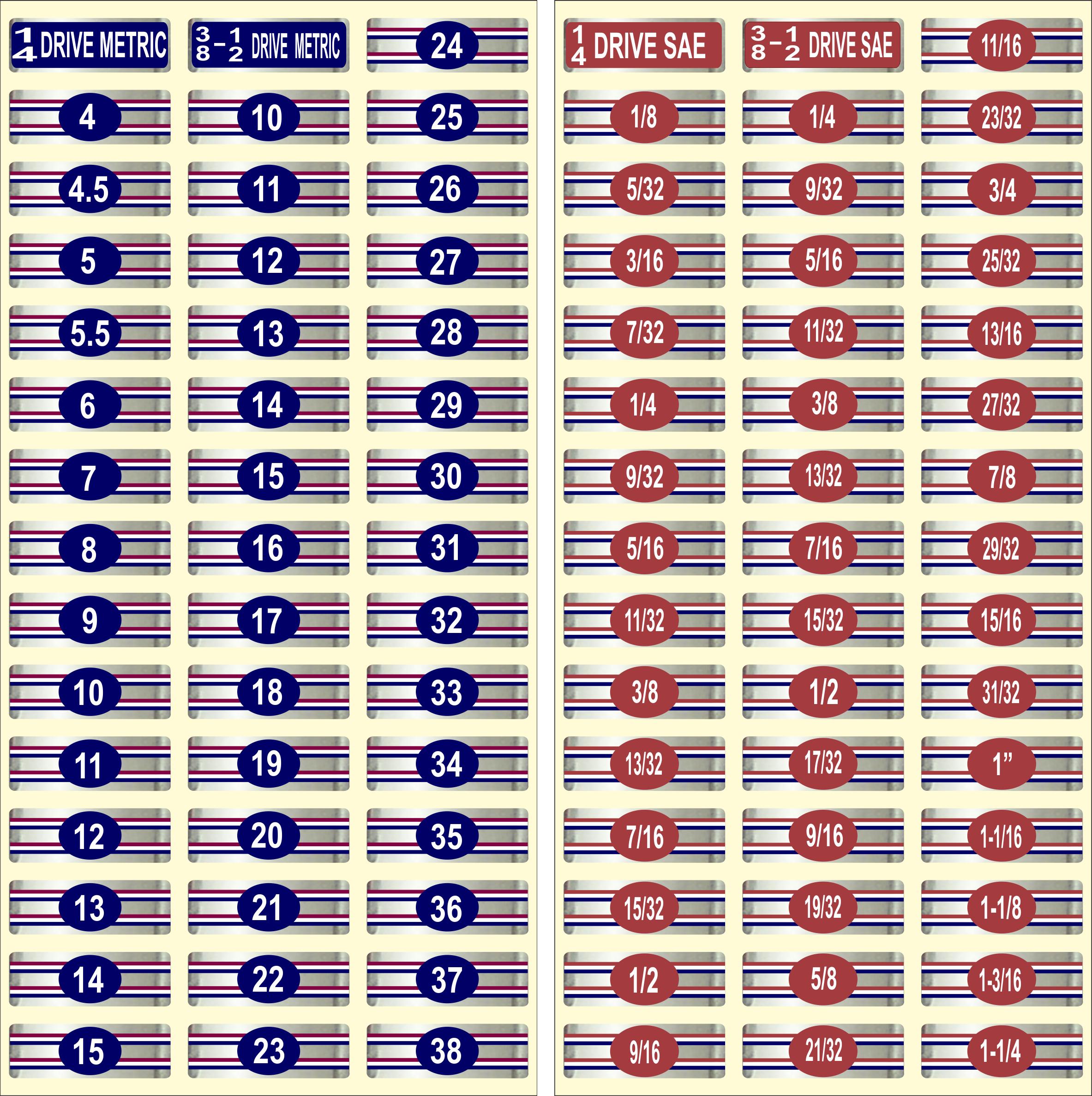 """Chrome Socket Label """"Master Set"""" Tag Socket Sets For Easy"""