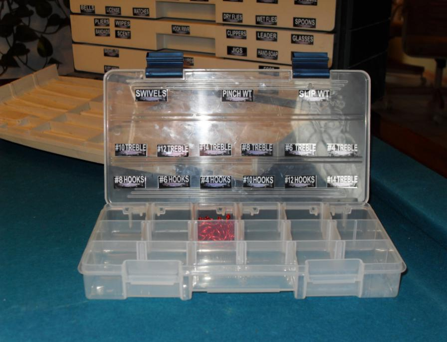 Clear Plastic Tackle Box Labeled