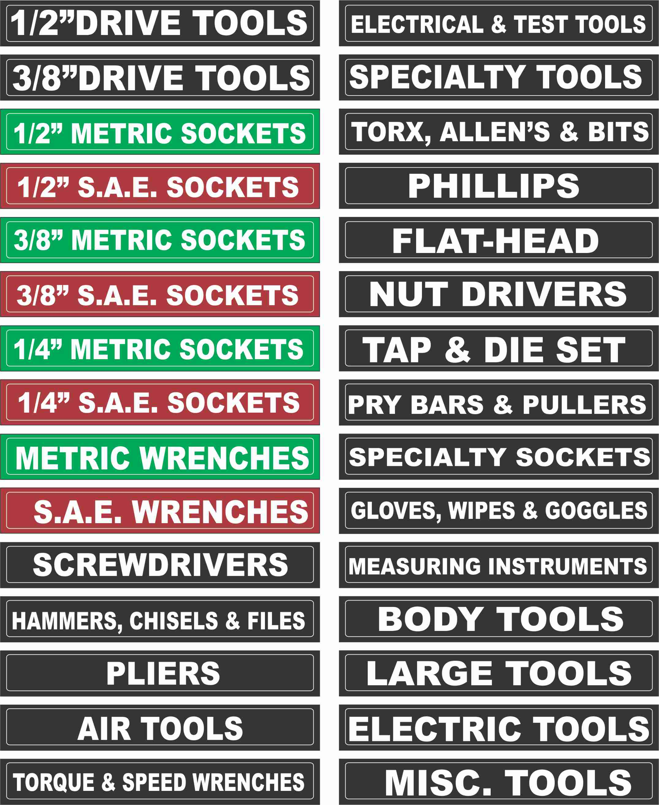 Magnetic Tool Chest Labels Set of 30