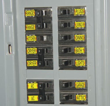 Residential Circuit breaker Box with adhesive labels.